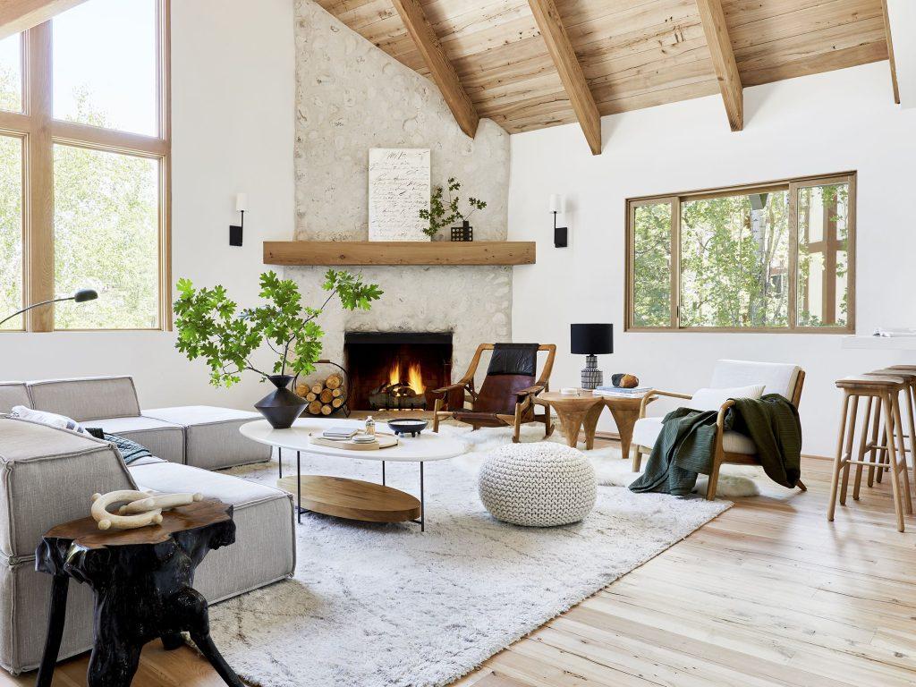 salon avec touches de bois