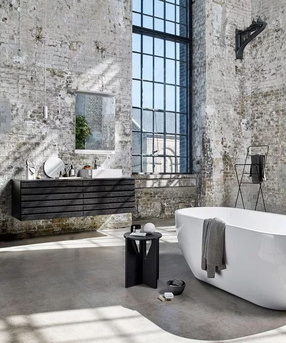 salle de bain industrielle brute