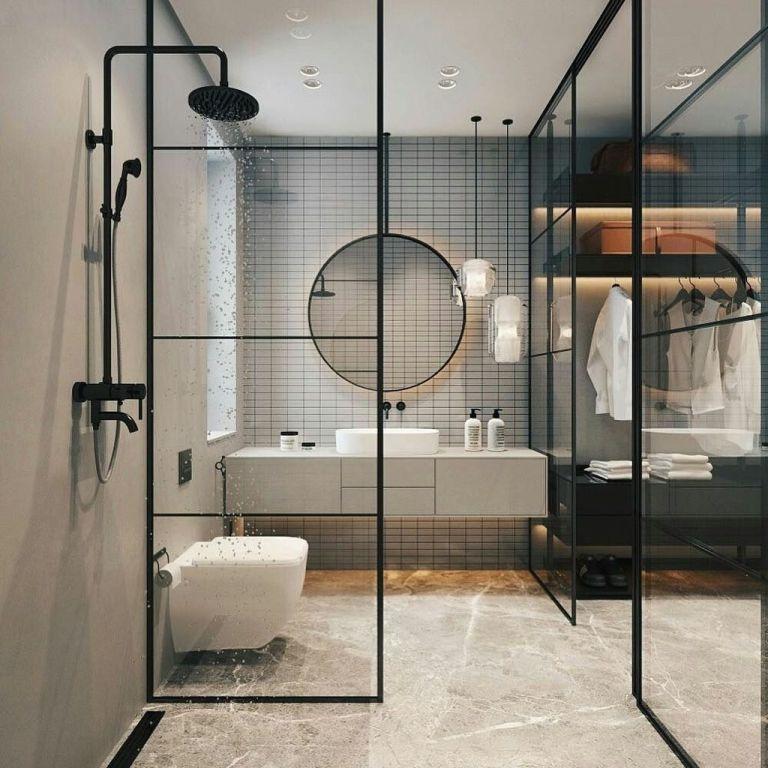salle de bain industrielle avec porte en verre