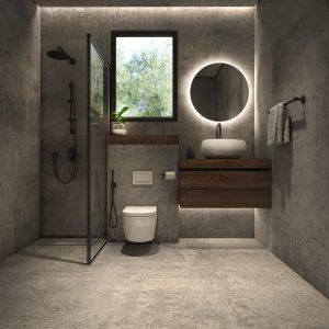 salle de bain industrielle avec ciment