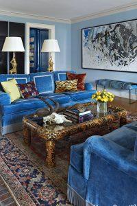 salon bleu vintage