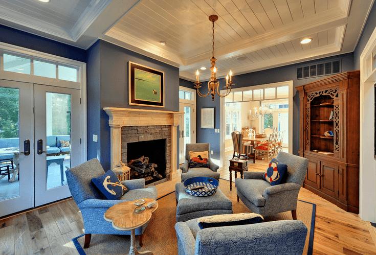 salon traditionnel bleu