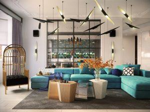 salon bleu modern